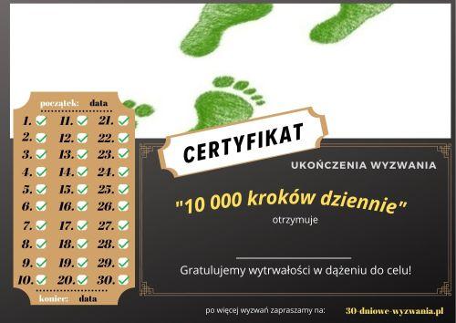 10 000 kroków dziennie certyfikat