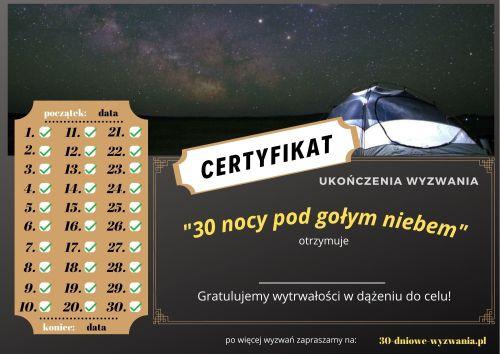30 nocy pod gołym niebem certyfikat
