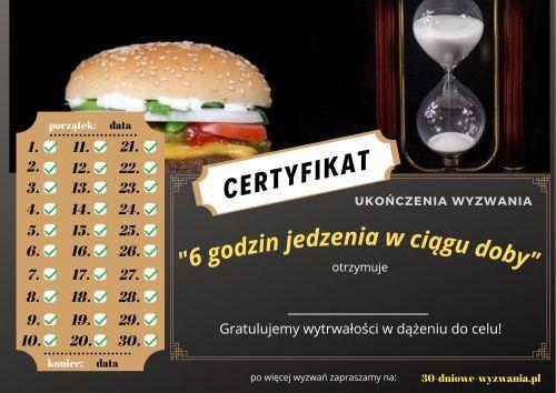 6 godzin jedzenia w ciągu doby certyfikat
