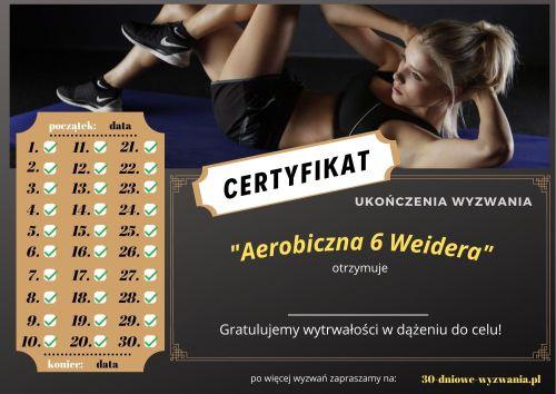 Aerobiczna 6 Weidera certyfikat