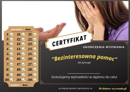 Bezinteresowna pomoc certyfikat
