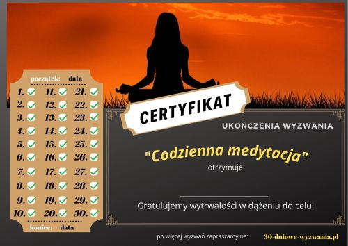 Codzienna medytacja certyfikat