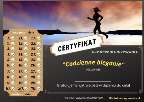 Codzienne bieganie certyfikat