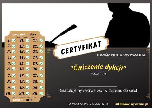 Ćwiczenie dykcji certyfikat