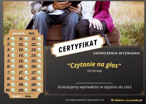 Czytanie na głos certyfikat