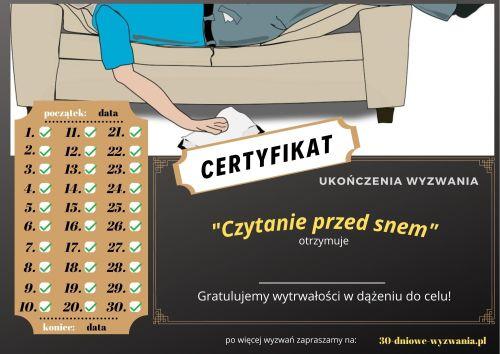Czytanie przed snem certyfikat
